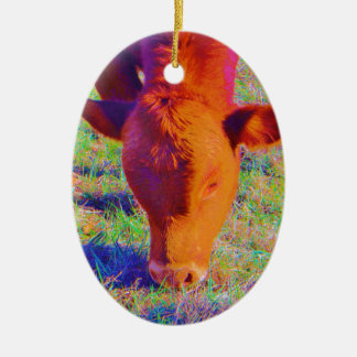 Baby Brown Cow face. RAINBOW GRASS Christmas Ornament