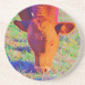 Baby Brown Cow face RAINBOW GRASS Beverage Coasters