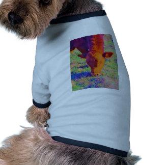 Baby Brown Cow face RAINBOW GRASS Doggie Tee Shirt