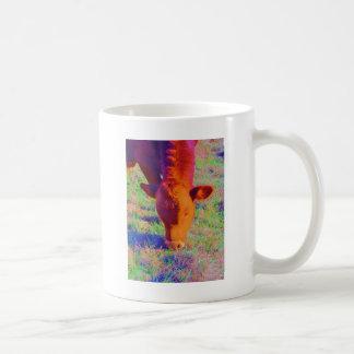 Baby Brown Cow face. RAINBOW GRASS Coffee Mug