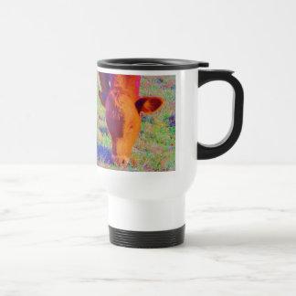 Baby Brown Cow face RAINBOW GRASS Coffee Mug