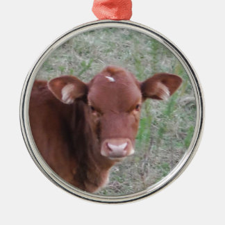 Baby Brown Cow face Silver-Colored Round Decoration