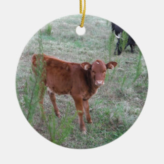 Baby Brown Cow . Round Ceramic Decoration