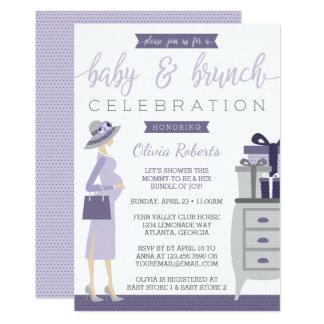 Baby & Bruch Baby Shower Invitation, Purple, Gray Card