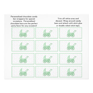 Baby Buggy Candybar Wrappers (Green) 21.5 Cm X 28 Cm Flyer