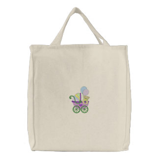 Baby Buggy Embroidered Tote Bag