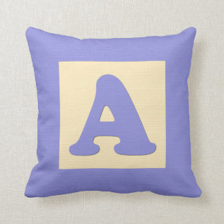 Baby building block throw pIllow letter A blue