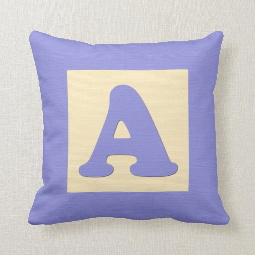 Baby building block throw pIllow letter A (blue)