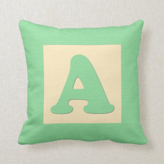 Baby building block throw pIllow letter A green