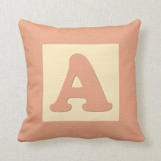 Baby building block throw pIllow letter A orange