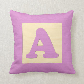 Baby building block throw pIllow - letter A pink
