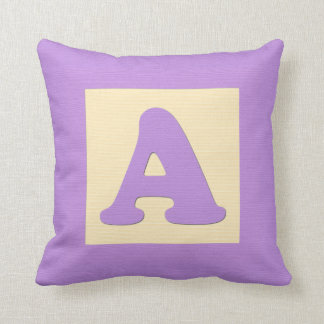 Baby building block throw pIllow letter A purple