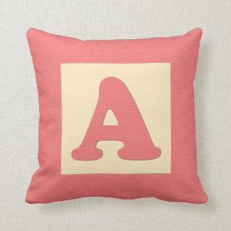 Baby building block throw pIllow - letter A (red) Throw Cushion