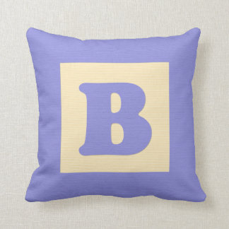 Baby building block throw pIllow letter B blue