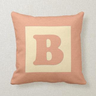 Baby building block throw pIllow letter B (orange)