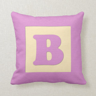 Baby building block throw pIllow letter B (pink) Throw Cushions
