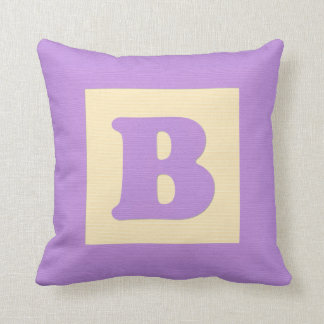 Baby building block throw pIllow letter B (purple) Throw Cushion