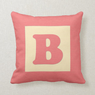 Baby building block throw pIllow letter B red