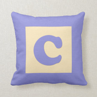 Baby building block throw pIllow letter C (blue) Cushions