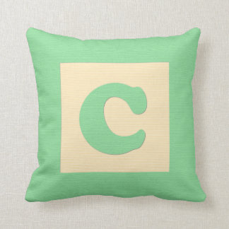 Baby building block throw pIllow letter C (green) Throw Cushion