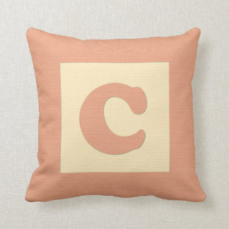 Baby building block throw pIllow letter C (orange)