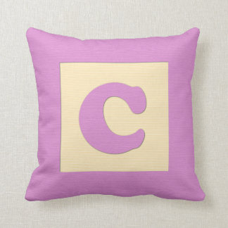 Baby building block throw pIllow letter C (pink)