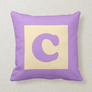 Baby building block throw pIllow letter C (purple) Throw Cushion