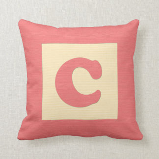 Baby building block throw pIllow letter C red