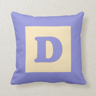 Baby building block throw pIllow letter D blue