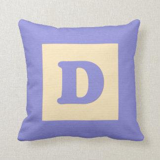Baby building block throw pIllow letter D blue