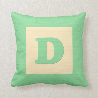 Baby building block throw pIllow letter D (green) Cushions