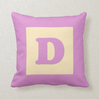 Baby building block throw pIllow letter D (pink)