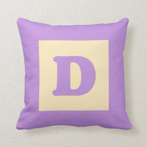 Baby building block throw pIllow letter D (purple)