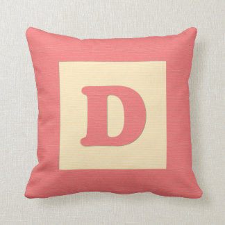 Baby building block throw pIllow letter D red