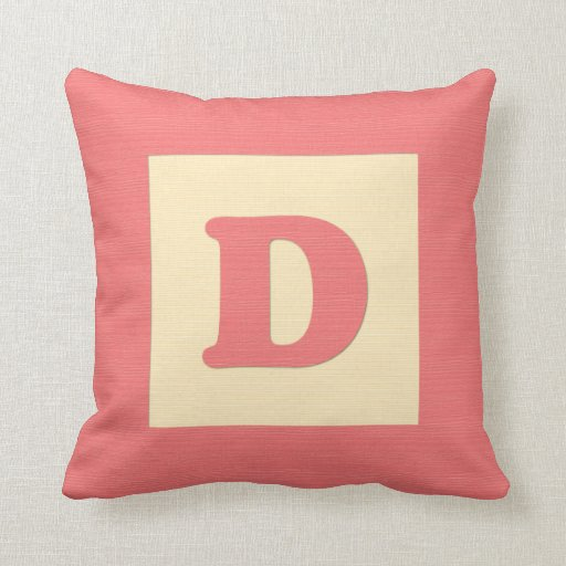 Baby building block throw pIllow letter D (red)