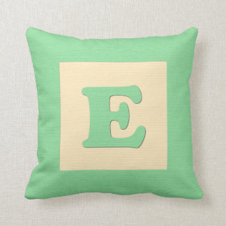 Baby building block throw pIllow letter E (green) Throw Cushion