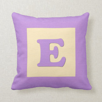 Baby building block throw pIllow letter E (purple)