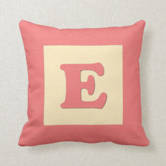 Baby building block throw pIllow letter E red