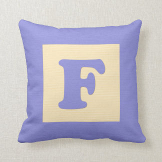 Baby building block throw pIllow letter F blue