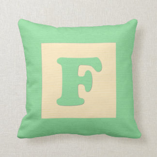 Baby building block throw pIllow letter F (green)