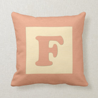 Baby building block throw pIllow letter F orange
