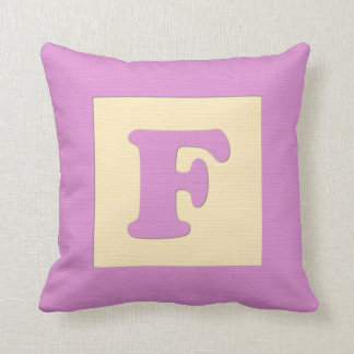 Baby building block throw pIllow letter F pink