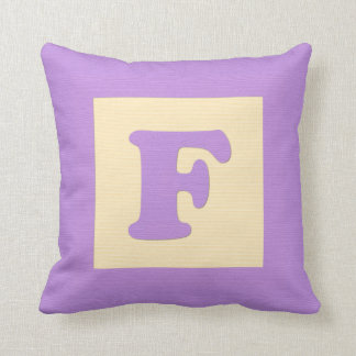 Baby building block throw pIllow letter F (purple)