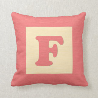 Baby building block throw pIllow letter F red