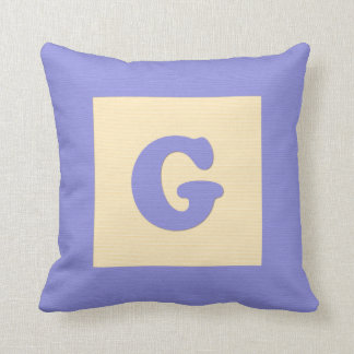 Baby building block throw pIllow letter G (blue)