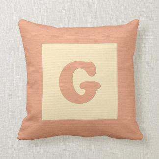 Baby building block throw pIllow letter G (orange) Cushion