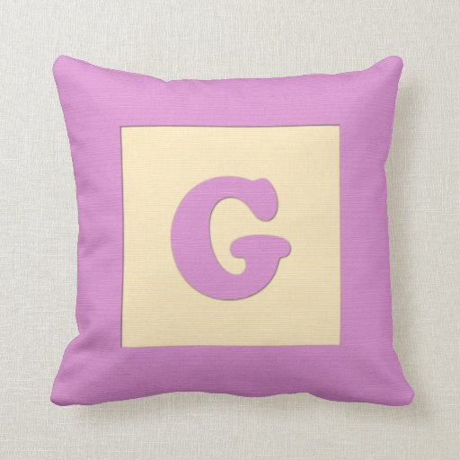 Baby building block throw pIllow letter G (pink)