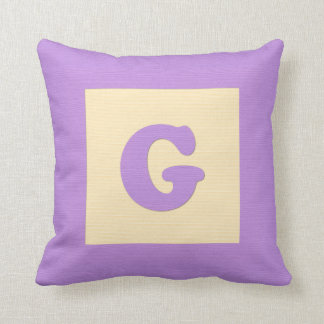 Baby building block throw pIllow letter G (purple)