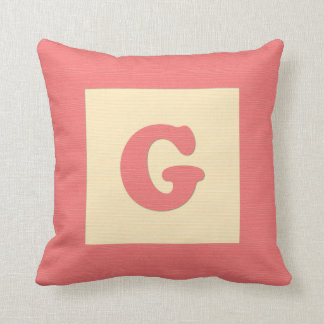 Baby building block throw pIllow letter G red