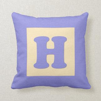 Baby building block throw pIllow letter H (blue) Throw Cushion